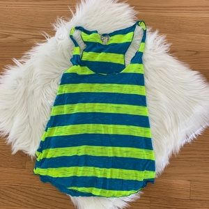 Kirra Small Tank - Blue & Neon Green